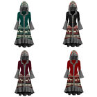 WOMENS CHRISTMAS GOTHIC WITCH PUNK MEDIEVAL GRADIENT COSPLAY FANCY HOODED DRESS