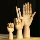 Wooden Hands Left  Right Model Wood Hands Jointed Movable Fingers Art Decor New