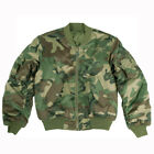 MA1 ARMY STYLE FLIGHT BOMBER PILOT MILITARY MENS JACKET US WOODLAND CAMO S-3XL