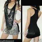 New Women Strapless Sequin Tassel Party Club Mini Dress