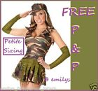 Ladies Army Girl Soldier Corporal Fancy Dress Costume Petite Size 4  6  8  10 XS