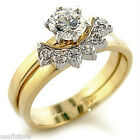 6mm 0.33ct CZ Wedding Band Engagement Tutone Gold EP Ladies Ring Set