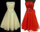 New Black Cream Red Sequins Cocktail Prom Party Formal Evening Dress