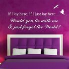 Wall Art Quote sticker IF I LAY HERE Snow Patrol Lyrics, Song , Decal , Text