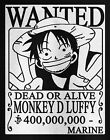 Monkey D Luffy Wanted Poster T-Shirt Anime Tee Pirate T