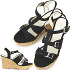 New Stylish Womens Shoes Wedge Heel Sandals Black