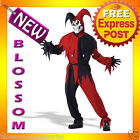 C53 Red Black Vile Evil Jester Mardi Gras Halloween Fancy Dress Adult Costume
