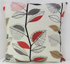 60s STYLE RED BROWN BEIGE LEAF DESIGN CUSHION COVERS