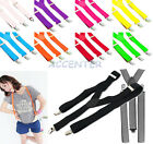Adjustable Braces Suspenders Unisex Neon Glitter Plain