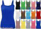 Womens Plain Ribbed Vest Tops Ladies Strappy Long Stretch Rib Top Casual T-Shirt