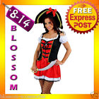 E55 Ladies Admiral Wench Pirate Halloween Outfit Fancy Dress Up Costume + Hat
