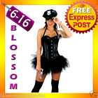 E57 Police Cops Halloween Fancy Dress Up Costume Corset  Top &Tutu Skirt + Hat