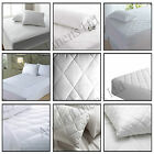 QUILTED LUXURY FITTED MATTRESS PROTECTOR SINGLE DOUBLE KING SUPER PILLOW CASES