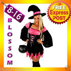 E37 Ladies Pink Witch Halloween Fancy Dress Up Costume Outfit + Hat