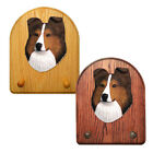 Shetland Sheepdog Wood Carved Figure Key Leash Holder. Home Decor Dog Products.