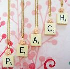 """GENUINE VINTAGE SCRABBLE TILE NECKLACE PEACH ROSE 18"""" CHAIN JEWELLERY GIFT BAG"""