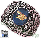 US Navy Seals Military Rhodium Plated Ring New Size 9