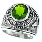 Peridot Green US Marines Military Rhodium EP Mens Ring