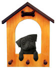 Pug Dog House Leash Holder. In Home Wall Decor Products & Dog Breed Pet Gifts.