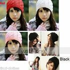 Cute lovely Women Girl chic Soft Hand Knitted Beanie knitting wool Hat Cap color