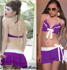 3 PC Purple Pin up Retro Vintage Triangl Push up Bikini Swim Skirt Bikinis Set