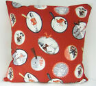VINTAGE INSPIRED CHRISTMAS XMAS SCATTER COVERS RED  RED ROBBIN CUSHION COVERS