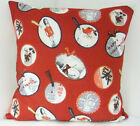 CHRISTMAS XMAS CUSHION COVERS RED RED ROBBIN SCATTER COVERS VINTAGE INSPIRED
