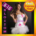 8822 Burlesque Moulin Rouge Costume Bridal White Pink Madonna Corset & Tutu