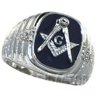 Mens Blue Masonic Mason 5th Rhodium Plated Ring New