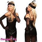 Ladies 1920s Black Chicago Flapper Fancy Dress Costume Outfit S-2XL