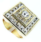 Square Shape Full Crystal Mounted Gold EP Mens Ring