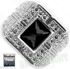 Black CZ Stone With Full Crystals Rhodium Plated Mens Ring