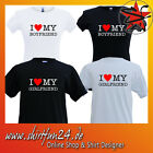 I LOVE MY BOYFRIEND GIRLFRIEND Girlie Damenshirt Partner-Shirts 2er Set T-Shirt