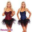 Burlesque Corset Lace up G String Tutu Skirt Petticoat Satin Bustier Party Dress