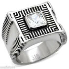 Square Cut Clear CZ Stone Silver Stainless Steel Mens Ring