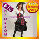 B67 Ladies Pirate Caribbean Wench Fancy Dress Halloween Costume Outfit + Hat
