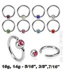 """PAIR 16g,14G~3/8"""",7/16"""" C.Z. Gem Captive Bead Ring Earring (Specify Color/Size)"""
