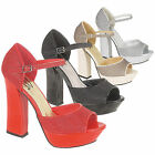 NEW WOMEN'S TRENDY BLOCK HEEL EVENING/PARTY SHOES AVAILABLE IN UK SIZES 3-8