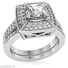 Crystal Dome Princess Cut CZ Wedding Band Rhodium Plated Ring Set