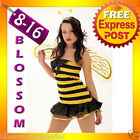 Ladies Bumble Bee Fancy Dress Costume Halloween Party Outfit + Antennae & Wings