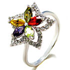 Sterling Silver Multi Color Flower CZ Ring