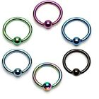 6 lot COLOR TITANIUM Captive Bead Rings Hoops CBR /BCR BODY Piercing JEWELRY
