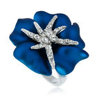 ARINNA chic blooming blue flower Cocktail Fashion Ring 18K WGP Swarovski Crystal