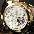 Mens Leather Band Mechanical Classic dial Luxury Golden Mens Wrist Watch