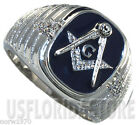 Masonic Mason Dark Blue Five Crystal Stones Silver Stainless Steel Mens Ring