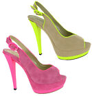 New Womens Fluorescent High Heels Platforms Party Court Peep Toe Shoes Size 3-8