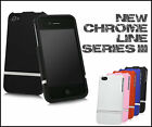 NEW STYLISH IPHONE 4 4S 2-PIECE CHROME HARD CASE SERIES COVER FITS APPLE BUMPER