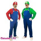 Mens Super Mario Luigi Brothers Fancy Dress Up Party Costume + hat