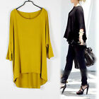 Womens Loose Oversized 3/4 Sleeve Modal draped T-shirt Tee Asymmetric Hem Jvz
