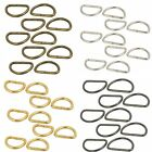10 Metal Silver D Rings for Craft & Webbing 15mm, 20mm, 25mm, 30mm, 38mm - UK